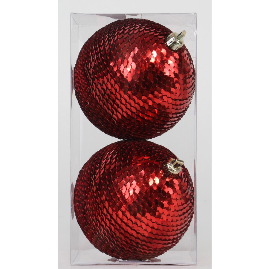 Holiday Living 2-Pack Red Sequence Christmas Bulb Ornament Set