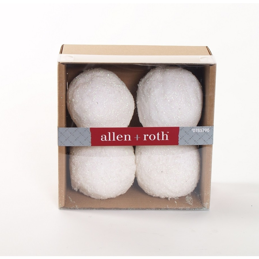 allen + roth 4-Pack White Snowball Ornament Set