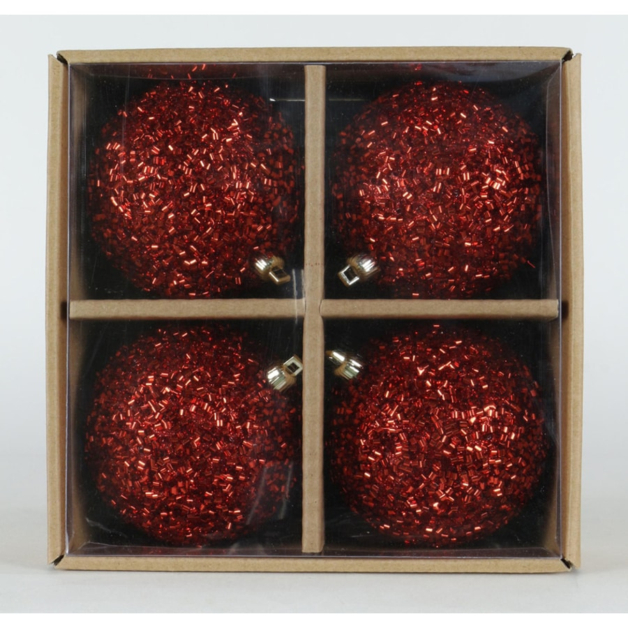 allen + roth 4-Pack Red Chunky Glitter Christmas Bulb Ornament Set