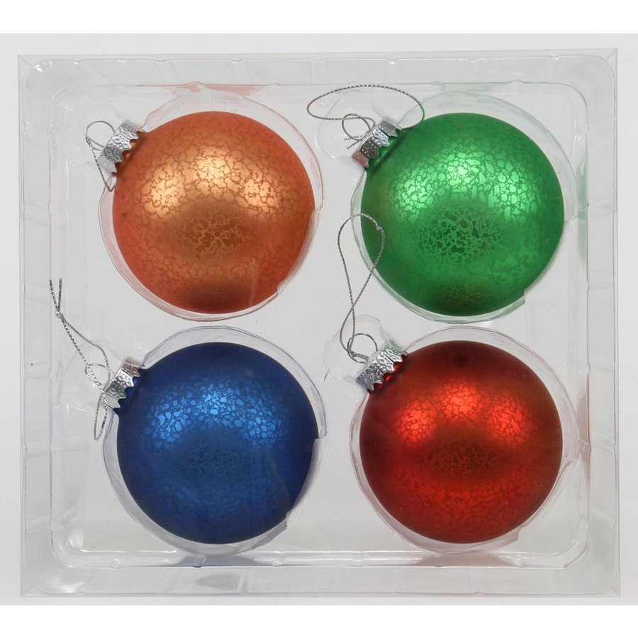 Holiday Living 4-Pack Assorted Color Christmas Bulb Ornament Set