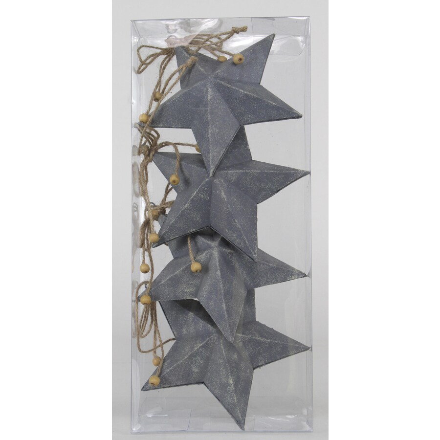 Holiday Living 4-Pack Gray Star Ornament Set