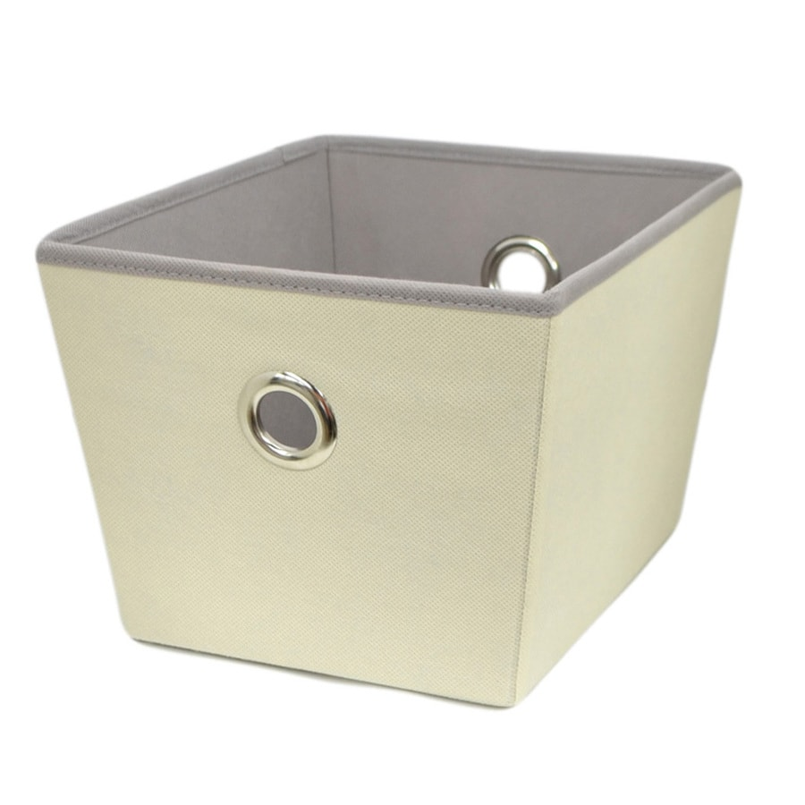 Style Selections Grommet 12-in W x 8-in H x 10-in D Cream Fabric Bin