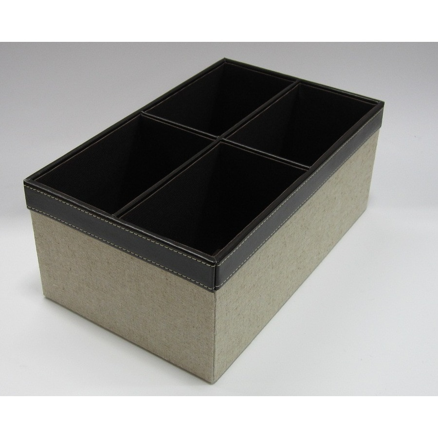 allen + roth 7.5-in W x 5-in H x 12-in D Linen Cotton Tray