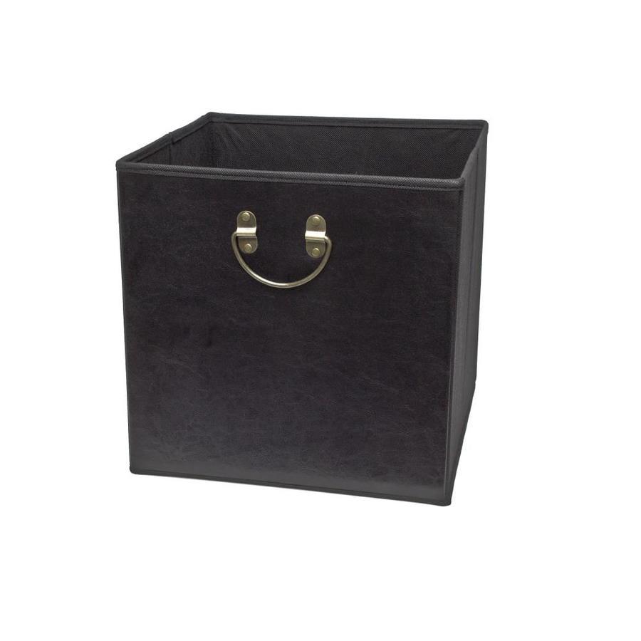 12.75-in W x 12.75-in H x 12.75-in D Black Faux Leather Bin