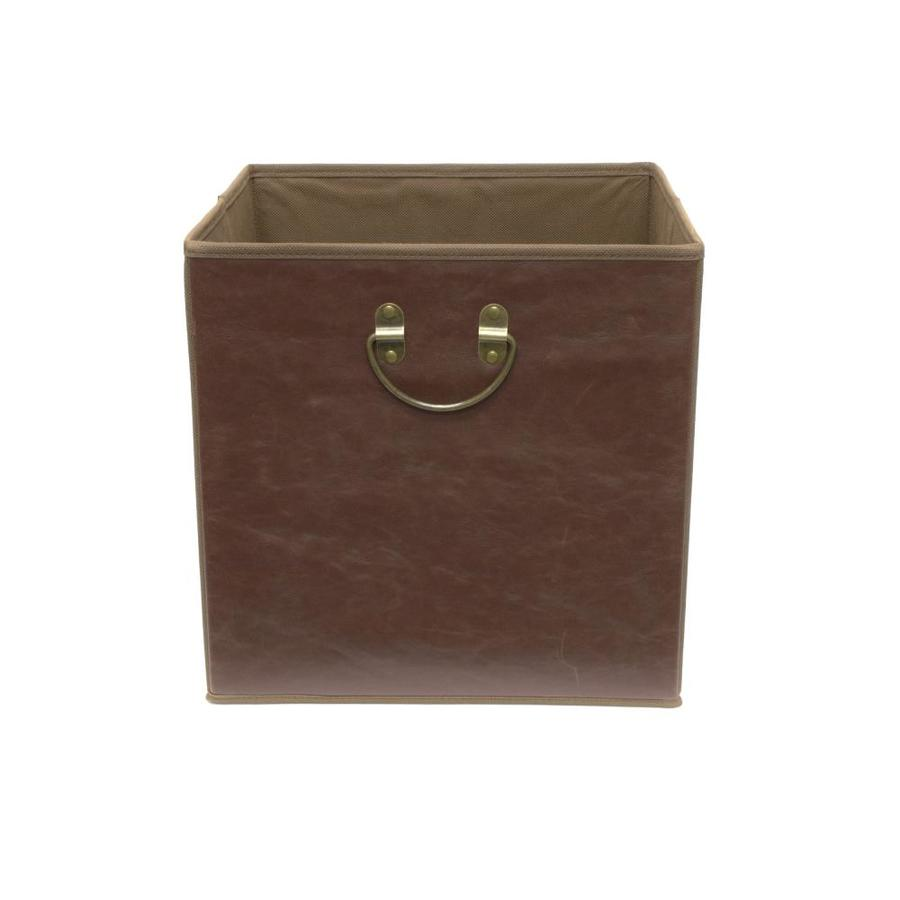 12.75-in W x 12.75-in H x 12.75-in D Dark Brown Faux Leather Bin