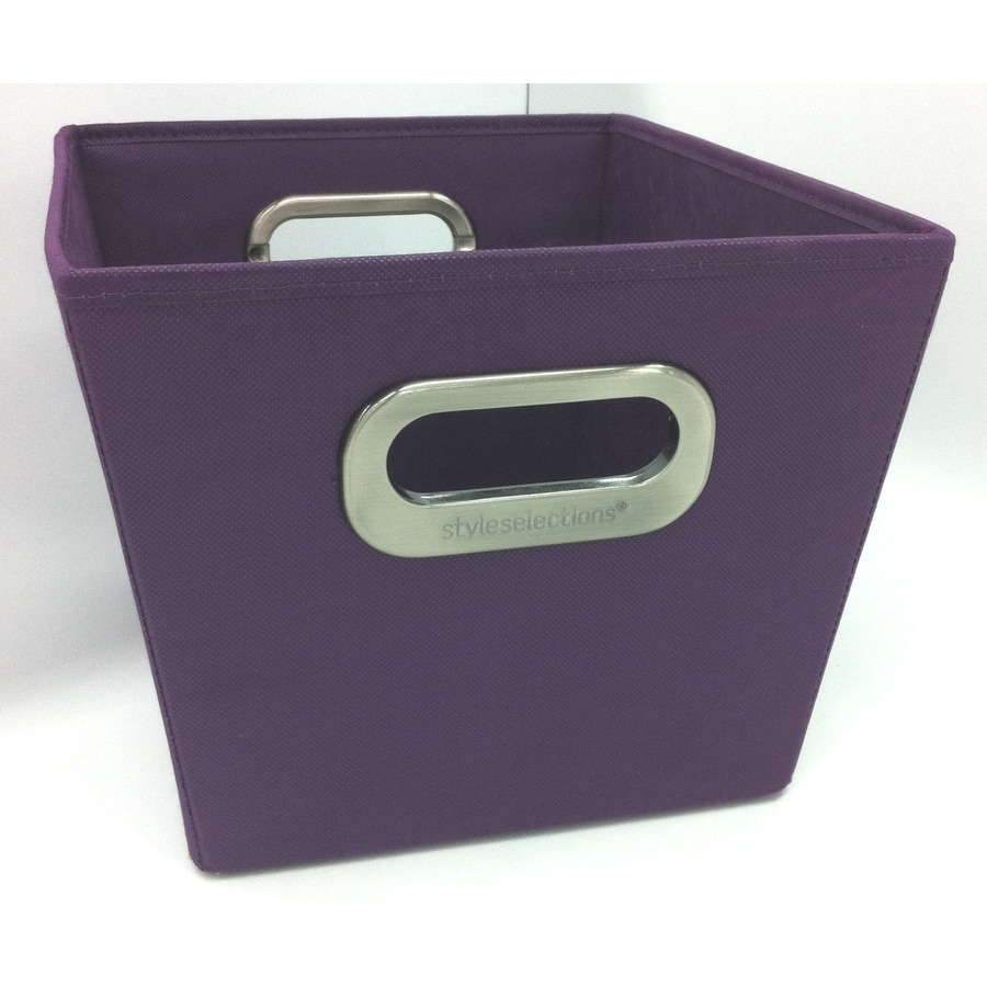 Style Selections 10-in W x 8-in H x 12-in D Solid Purple Fabric Milk Crate
