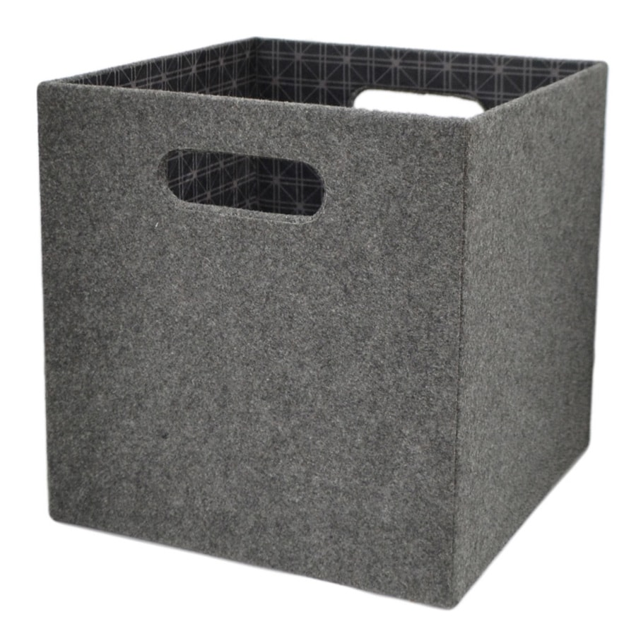 allen + roth 10.69-in W x 11-in H x 10.69-in D Grey Fabric Milk Crate