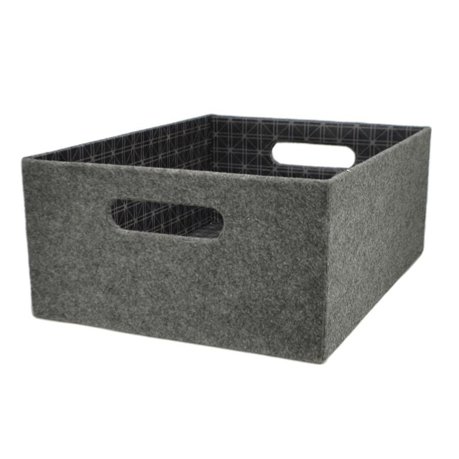 allen + roth 10.69-in W x 5.5-in H x 14.25-in  sc 1 st  Loweu0027s & Shop allen + roth 10.69-in W x 5.5-in H x 14.25-in D Grey Fabric Bin ...