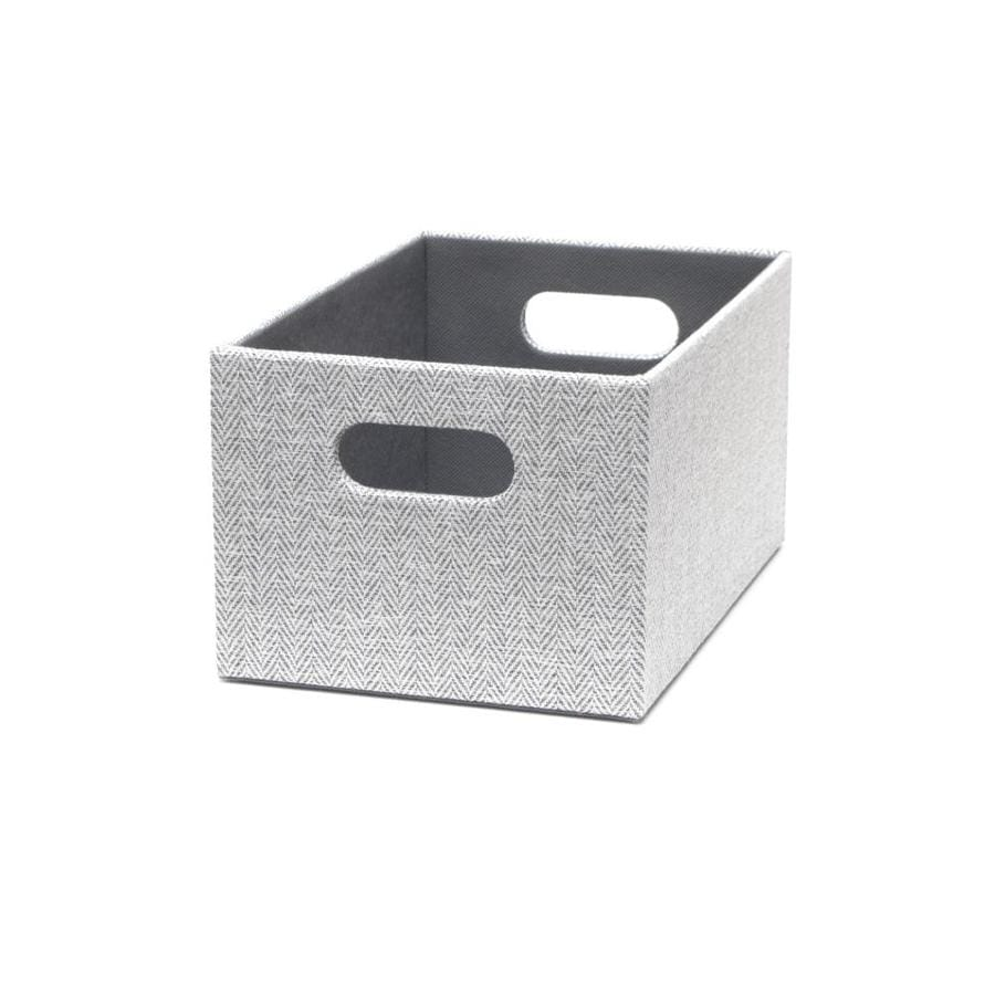 Herringbone 7.13-in W x 5.5-in H x 10.69-in D Gray Fabric Bin