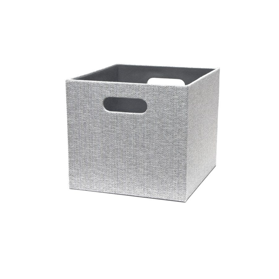 Herringbone 10.69-in W x 9.69-in H x 11.69-in D Gray Fabric Bin