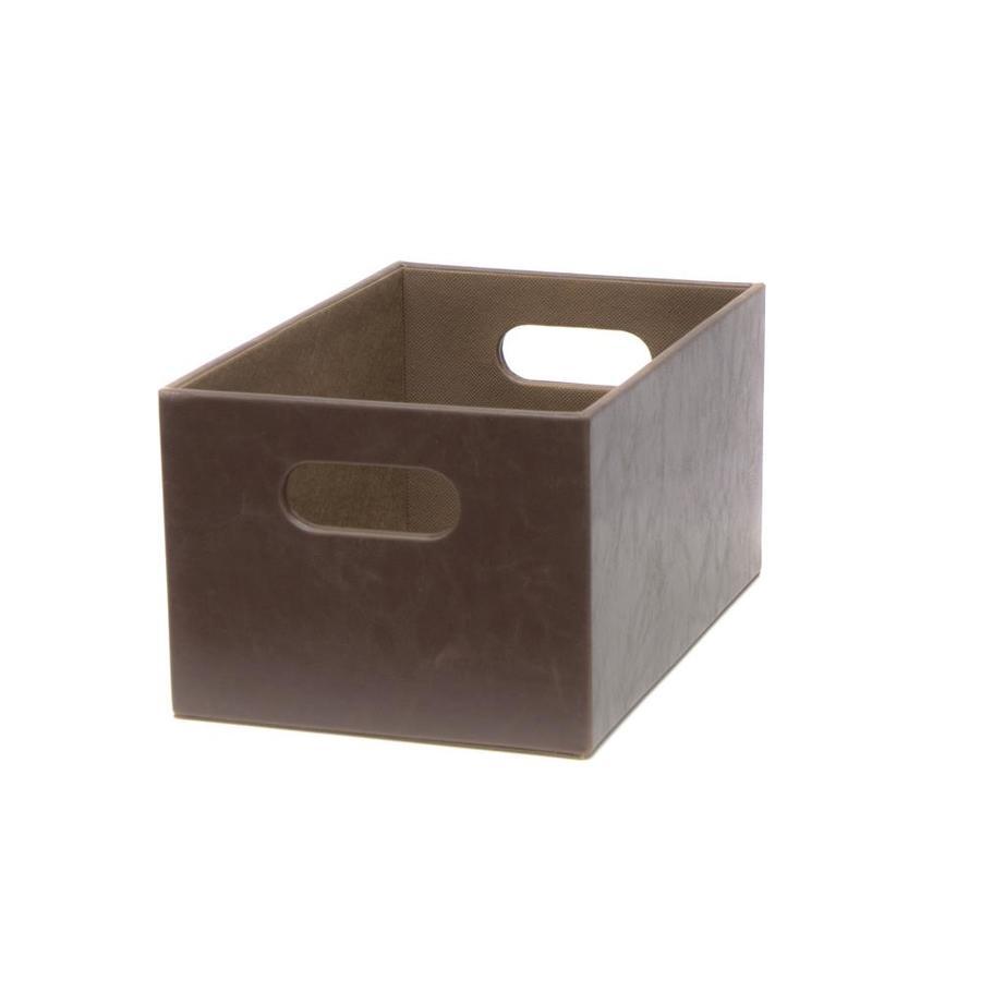 Harvey Lewis 7.13-in W x 5.5-in H x 10.69-in D Dark Brown Faux Leather Bin
