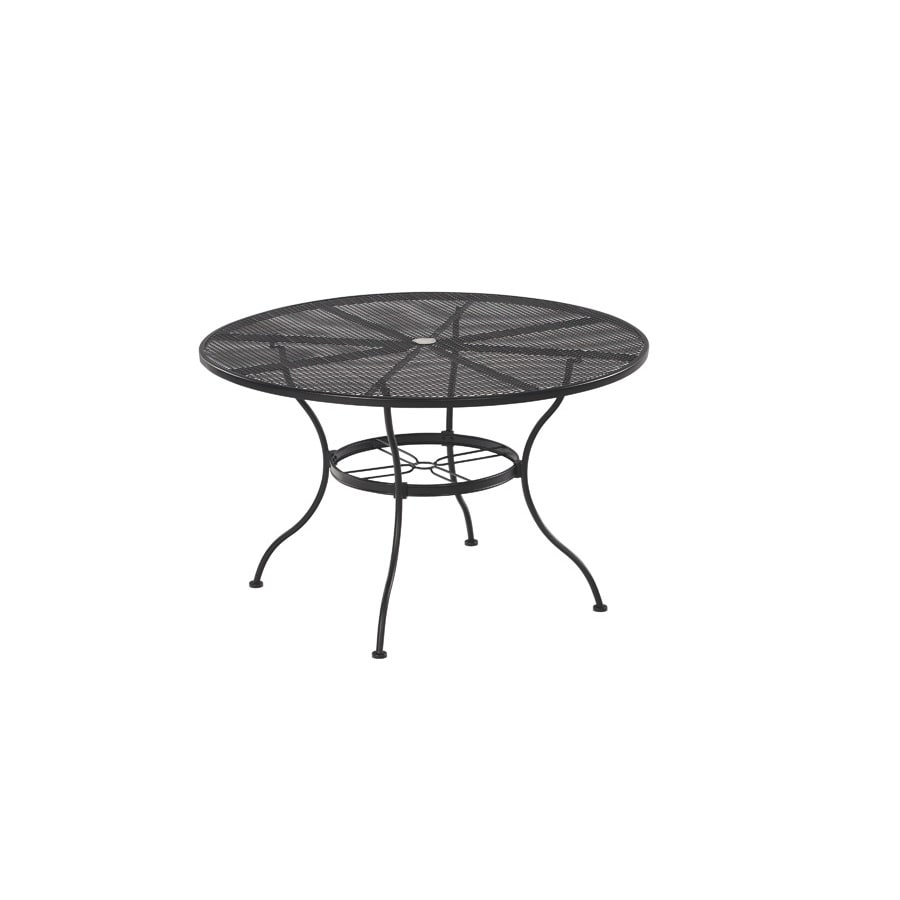 Shop garden treasures davenport black round patio dining for Black round dining table