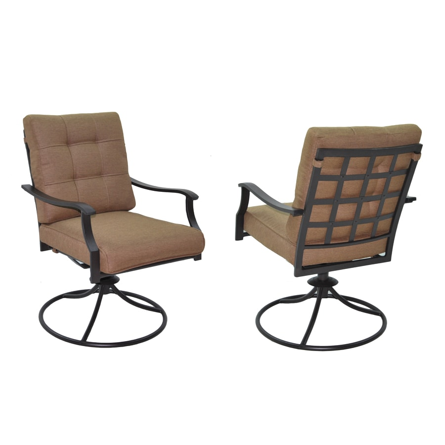 Garden Treasures Set Of 2 Eastmoreland Textured Brown Cushioned Steel  Swivel Patio Dining Chairs