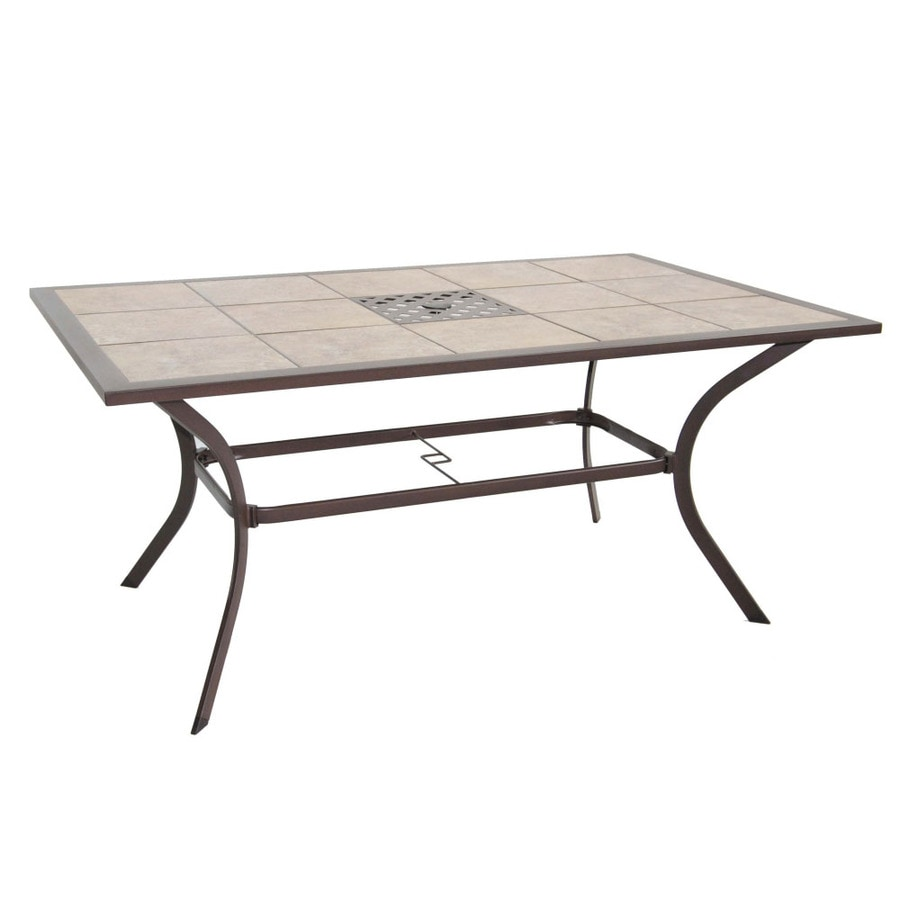 Garden Treasures Eastmoreland Tile Top Textured Brown Rectangle Patio Dining Table