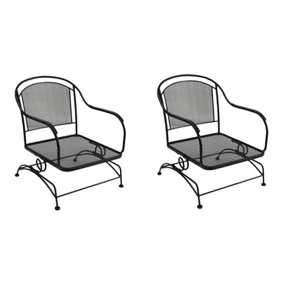 Set Of 2 Davenport Black Wrought Iron Mesh Seat Patio Spring Motion Chairs