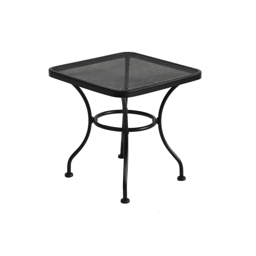 garden treasures davenport 18 in x 18 in black wrought iron square patio end table at. Black Bedroom Furniture Sets. Home Design Ideas