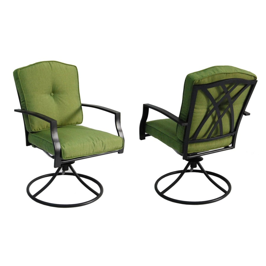 Garden Treasures Set Of 2 Cascade Creek Textured Black Seat Steel Swivel Patio Dining Chair