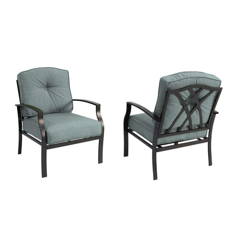 garden treasures cascade creek 2 count black steel patio conversation chairs - Garden Furniture Lowes
