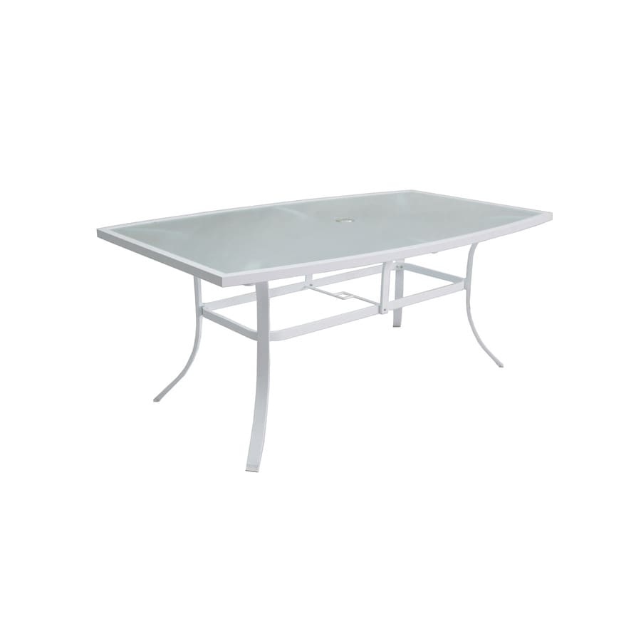 allen + roth Ocean Park 42-in W x 72-in L 6-Seat White Aluminum Patio Dining Table with a Glass Tabletop