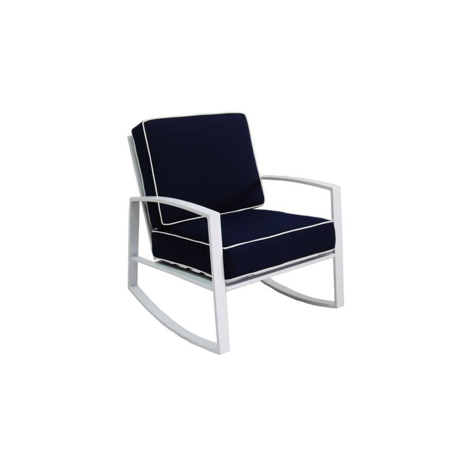 allen + roth Ocean Park 2-Count White Aluminum Rocking Patio Conversation Chairs with Nautical Blue Cushions