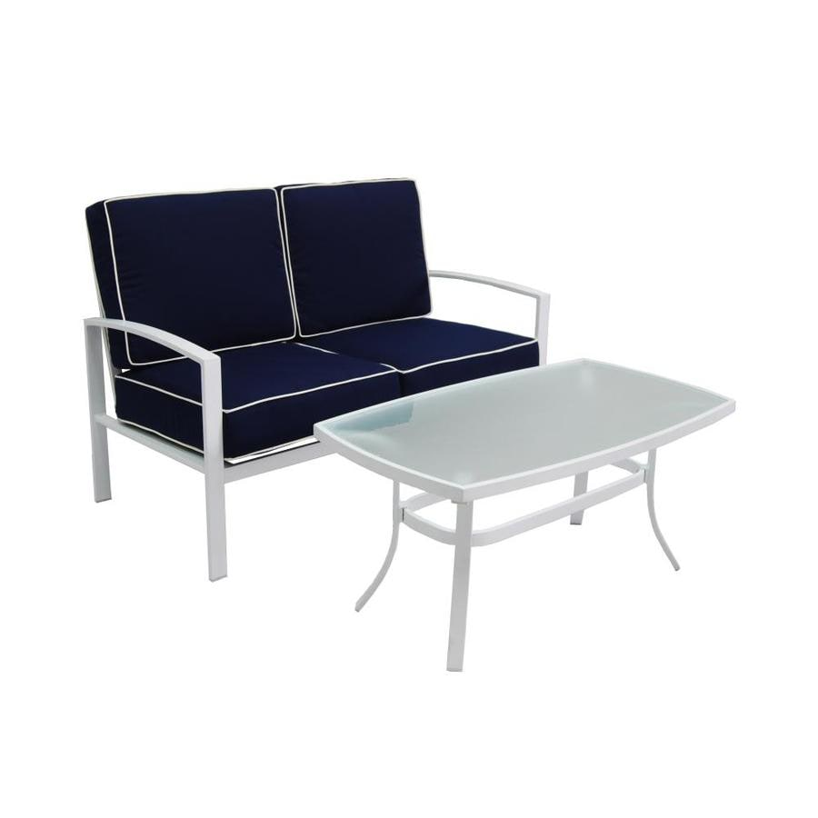 Allen + Roth Ocean Park 2 Piece White Aluminum Patio Conversation Set With  Nautical Blue