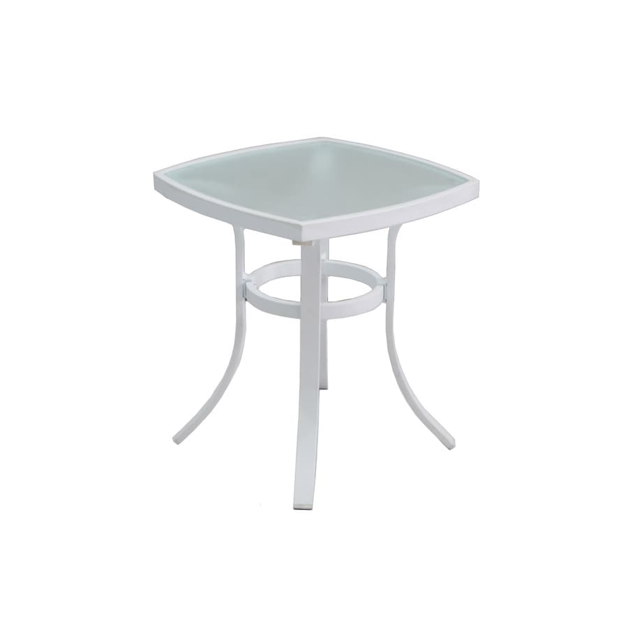 allen + roth Ocean Park 20-in W x 20-in L Square White Aluminum End Table with a Glass Tabletop