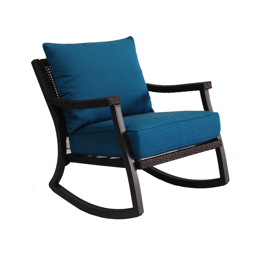 Allen Roth Netley Brown Wicker Rocking Patio Conversation Chair With A Deep Sea Blue Sunbrella