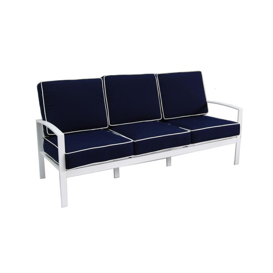 Allen + Roth Ocean Park White Aluminum 3 Seat Patio Sofa With Nautical Blue  Cushions