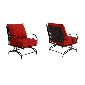 Garden Treasures Yorkford 2 Count Black Steel Spring Motion Patio  Conversation Chairs With Red Cushions