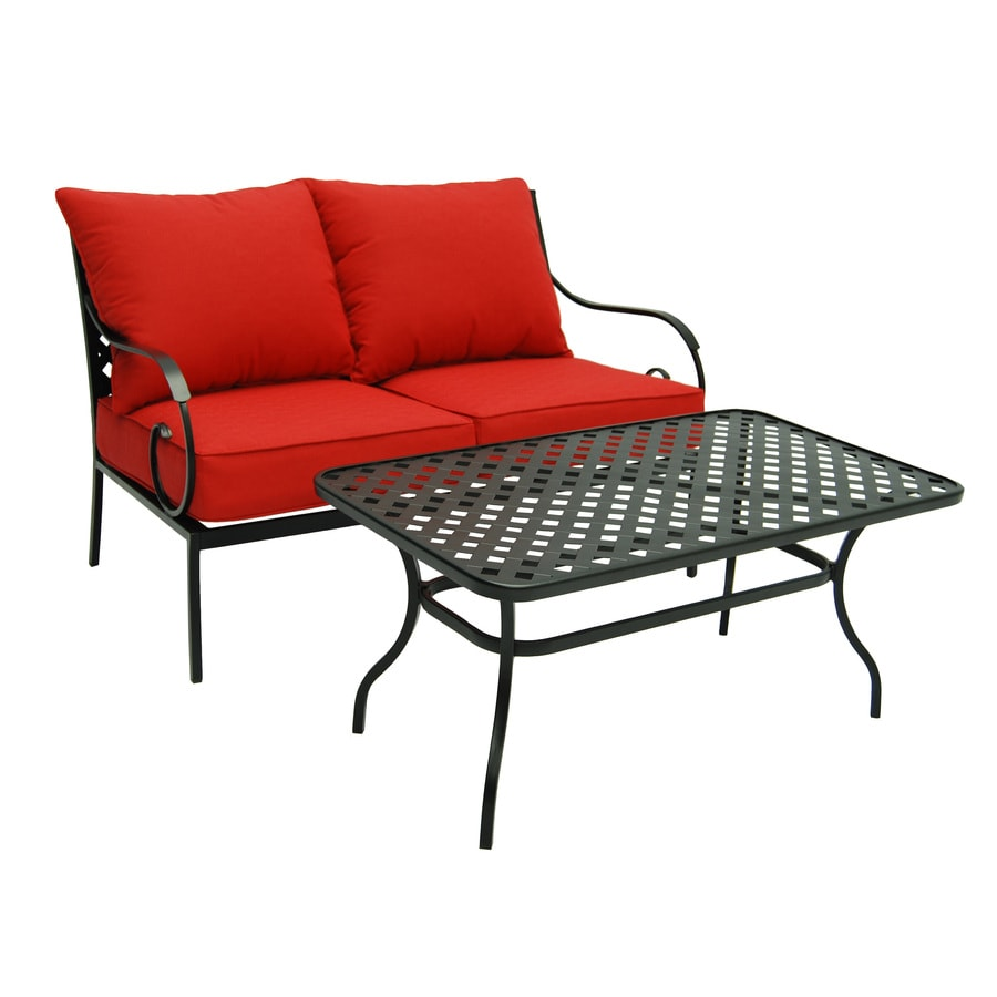 garden treasures yorkford 2 piece black steel patio conversation set with red cushions