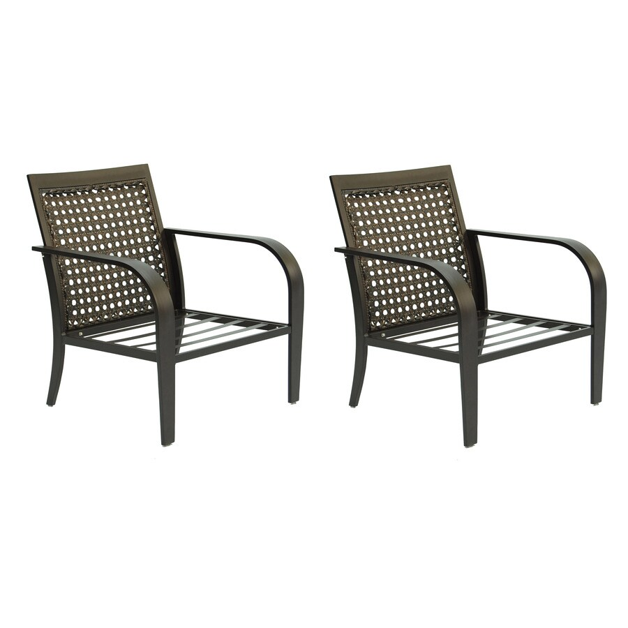 Garden Treasures Lynboro 2-Count Brown Steel Patio Conversation Chairs