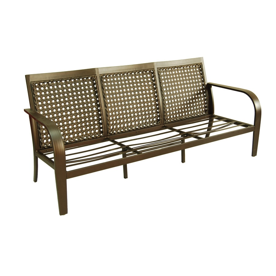 Outdoor Sectional Sofa Lowes: Shop Garden Treasures Lynboro Brown Steel Sofa At Lowes.com