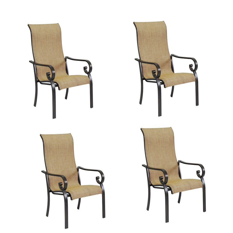 Garden Treasures Rollinsford 4-Count Bronze Aluminum Stackable Patio Dining Chairs with Brown Sunbrella Sling Fabric