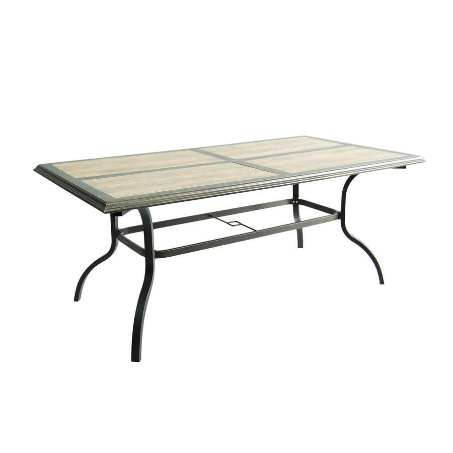 Garden Treasures Rollinsford 39.5-in W x 71-in L 6-Seat Bronze Aluminum Patio Dining Table with Tile Tabletop