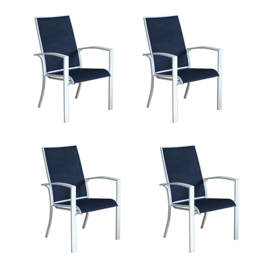 Shop Allen Roth Ocean Park 4 Count White Aluminum Stackable Patio Dining Chairs With Nautical