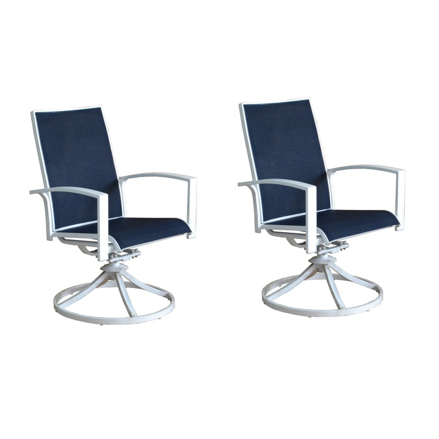 allen + roth Ocean Park 2-Count White Aluminum Swivel Patio Dining Chairs with Nautical Blue Sunbrella Sling Fabric