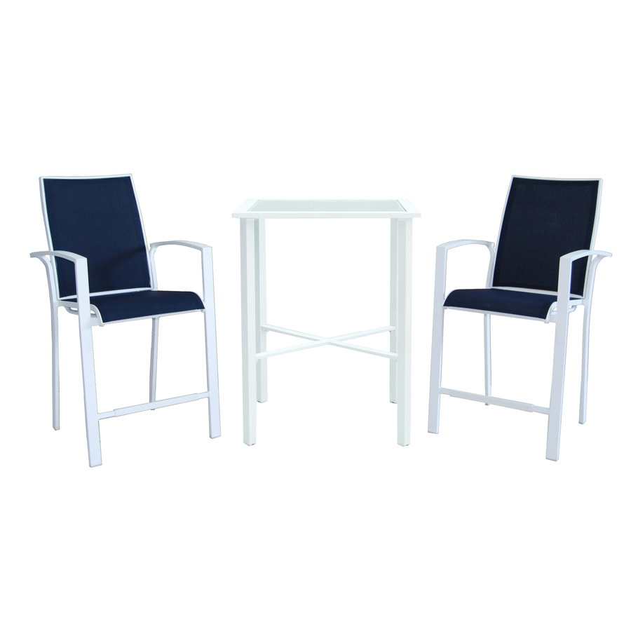 Shop Allen Roth Ocean Park 3 Piece White Glass Dining