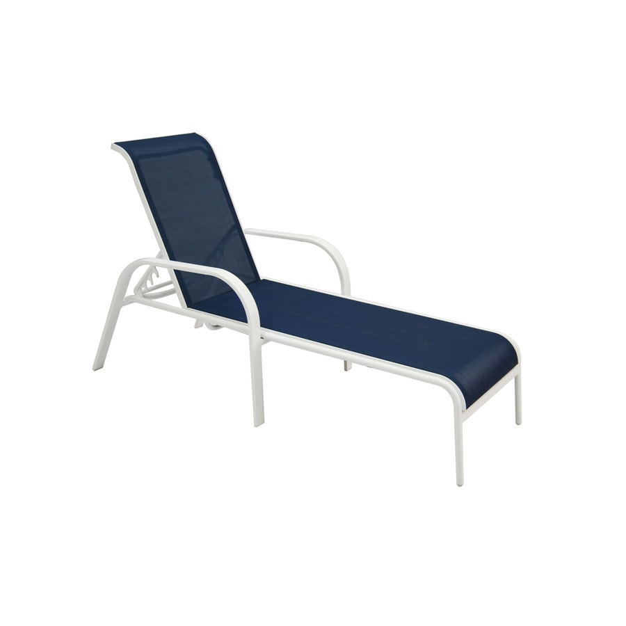 Shop allen roth ocean park white metal patio chaise for Chaise aluminium