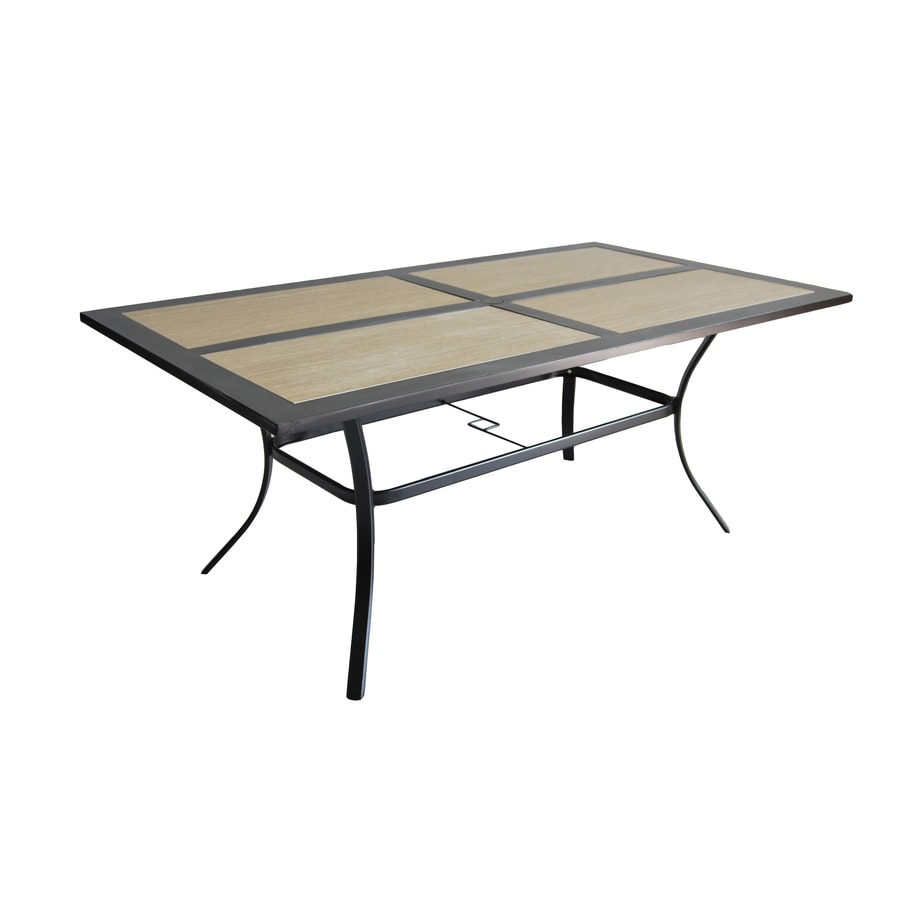 Garden treasures folcroft 39 84 in w x 71 5 in l 6 seat brown steel patio dining table with a tile tabletop