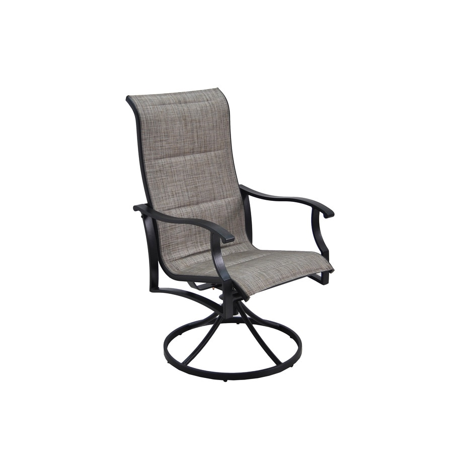 Exceptional Garden Treasures Skytop 2 Count Black Steel Swivel Rocker Patio Dining  Chairs With Gray Sling Part 32