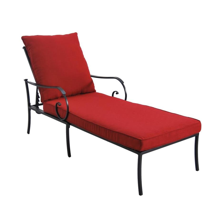 Shop garden treasures yorkford black metal patio chaise for Black outdoor chaise lounge