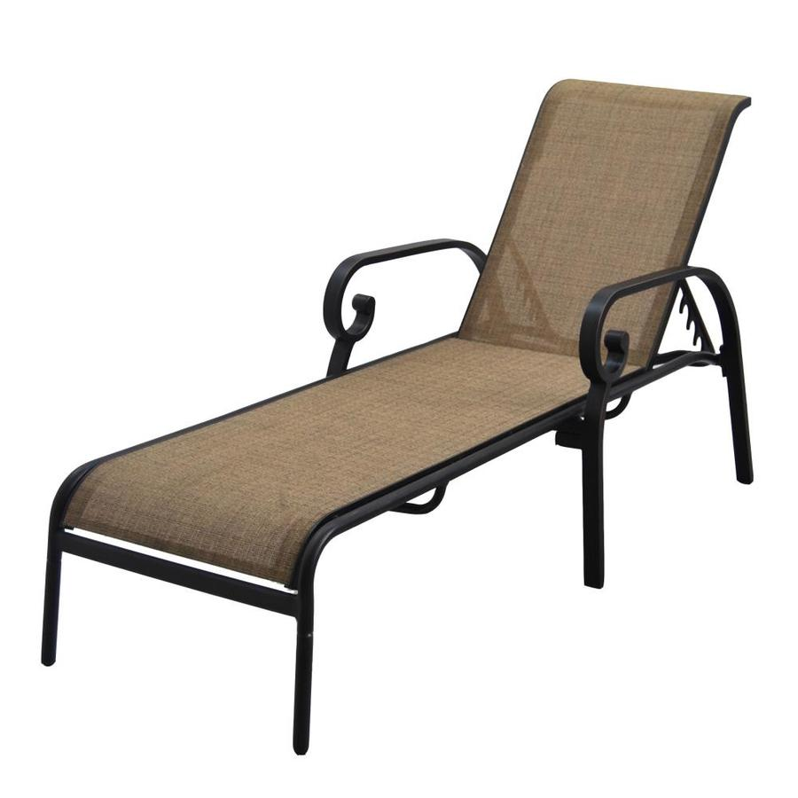 allen + roth Rollinsford 1-Count Bronze Metal Patio Chaise Lounge Chair with