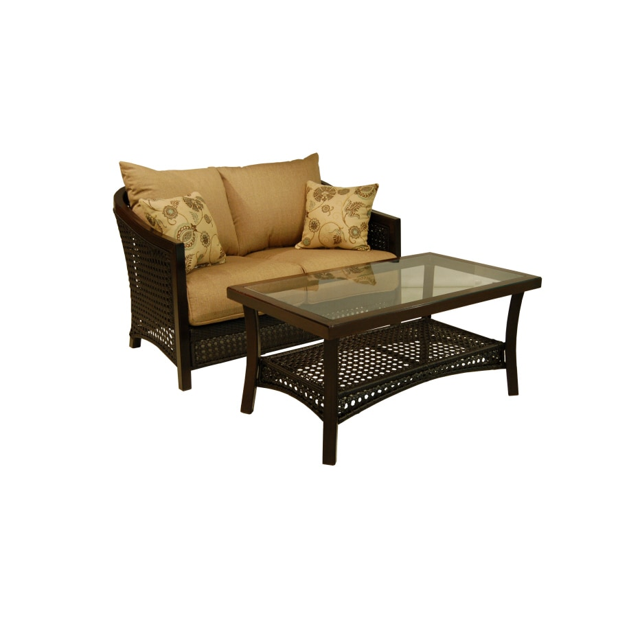Allen Roth Cranston Patio Loveseat And Coffee Table Set With Textured Cushions