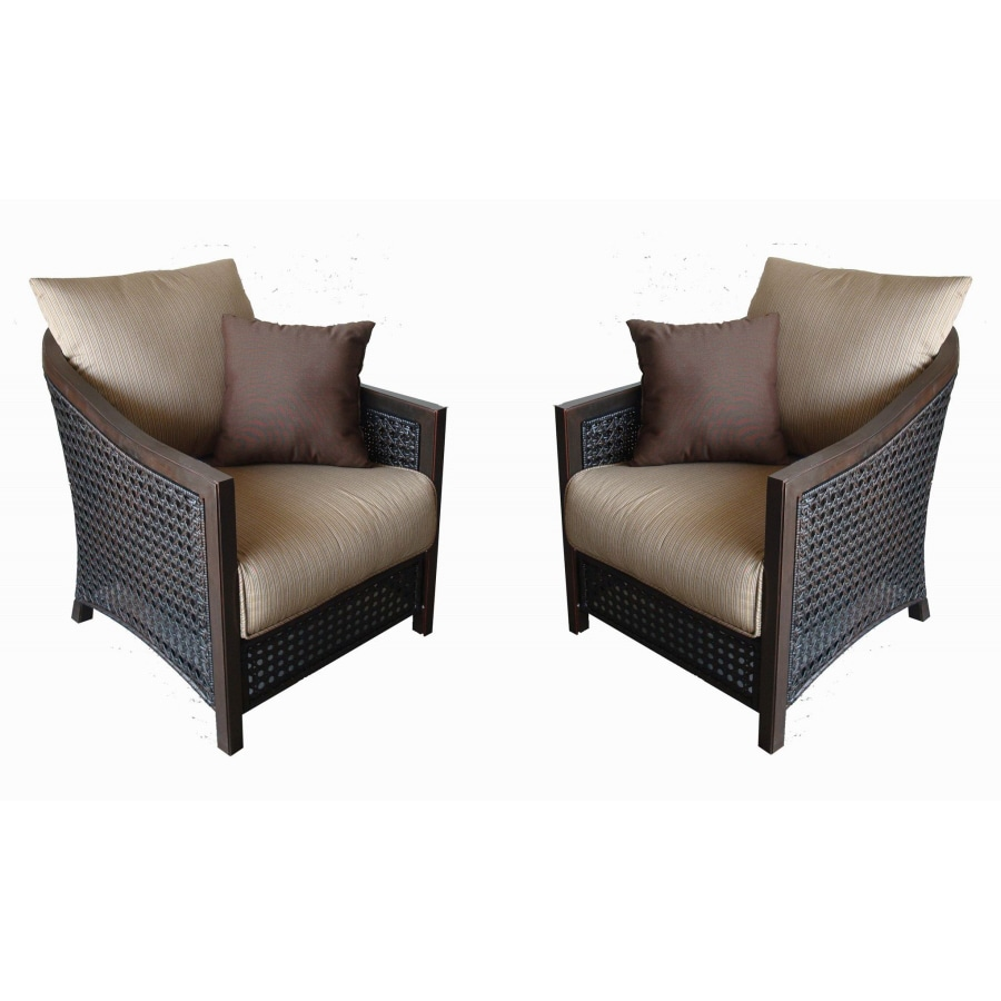 Shop Allen Roth Set Of 2 Cranston Aluminum Patio Chairs With Textured Tan Cushoin At