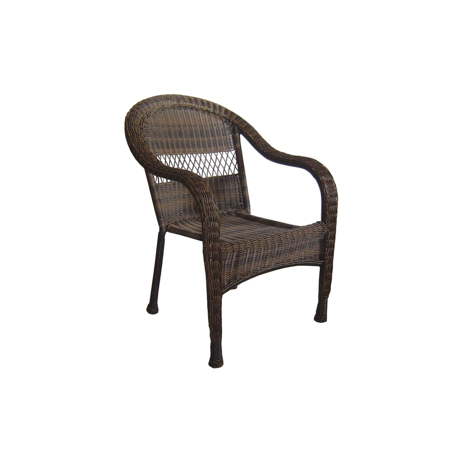 garden treasures severson brown wicker stackable patio dining chair - Garden Furniture Lowes
