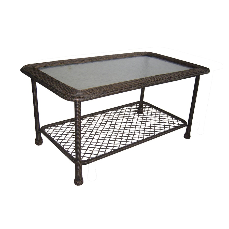 Shop Garden Treasures Severson W X 41 5 In L Brown Wicker Patio Coffee Table With A