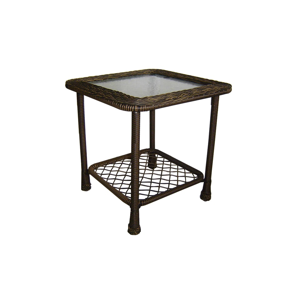 Garden Treasures Severson 20.25-in W x 20.25-in L Square Brown Wicker End Table with a Glass Tabletop