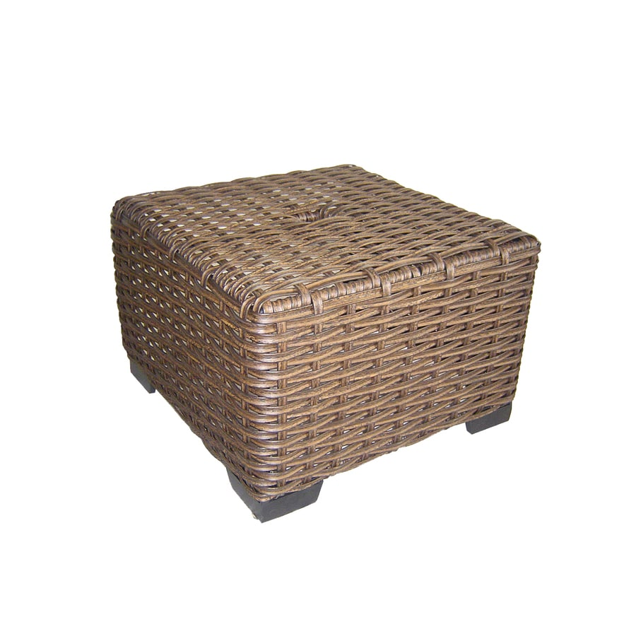 Allen + Roth Blaney 22 In X 22 In Black Wicker Square Patio End