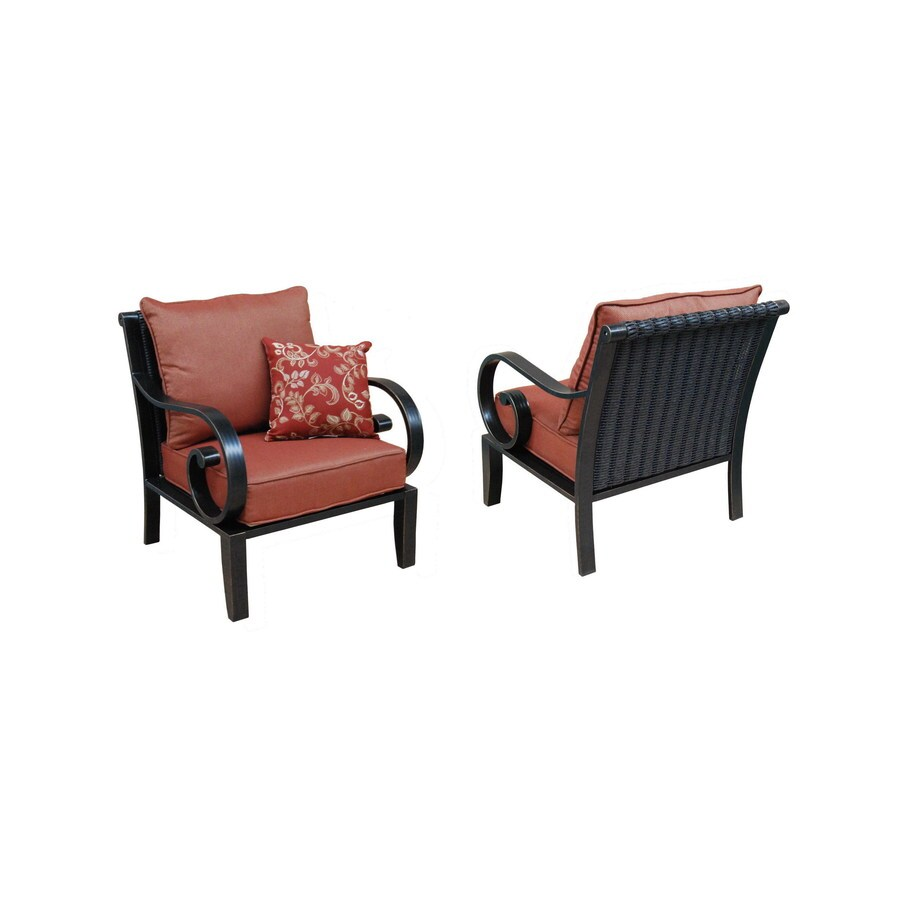 Allen + Roth Set Of 2 Pardini Oil Rubbed Bronze Aluminum Cushioned Patio  Chairs