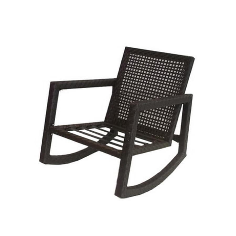 allen roth lawley textured black steel strap seat patio rocking chair - Patio Rocking Chairs